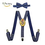 Hiphop Unisex Suspenders And Pre-Tied Bowtie Set For Kids Casual And Formal blue