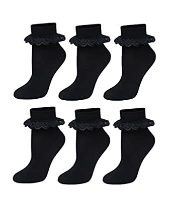 New Pack Of 12 Girls White School Cotton Lace Ankle Socks UK 4-6½