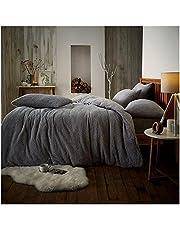 Gaveno Cavailia Teddy sängkläder set dubbel silver supermjuk fluffig lyx design gosigt varma sängkläder gosig fleece sängkläder
