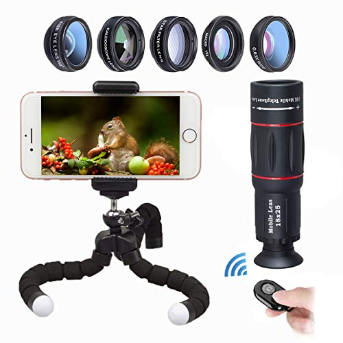 APEXEL Phone Camera Lens with 18x Telephoto Lens+Fisheye,Macro/Wide Angle Lens+Star,Kaleidoscope Filter+Tripod and Shutter 8 in 1 Cell Phone Lens Kit for iPhone and other Smartphone from Apexel