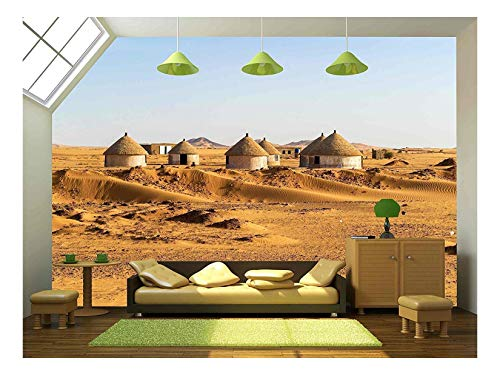 wall26 - Nubian Village on The Way from Dongola to Khartoum in Sahara Desert - Removable Wall Mural | Self-Adhesive Large Wallpaper - 100x144 inches