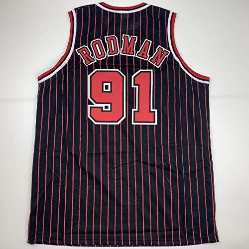 Unsigned Dennis Rodman Chicago Pinstripe Black Custom Stitched Basketball Jersey Size Men's XL New No Brands/Logos