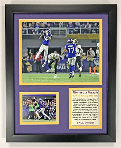 Minnesota Vikings   Minnesota Miracle   Nfc Divisional Win   Framed 12 X15  Double Matted Photos   Legends Never Die  Inc