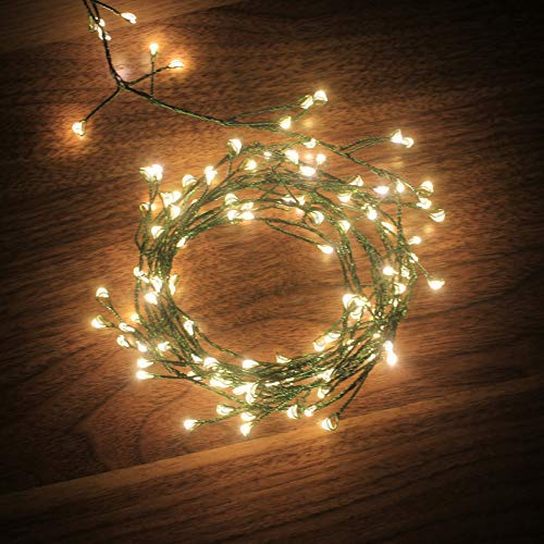(6feet 120 LED Starry Lights, Dailyart Battery Operated Waterproof Dark Green Copper Wire Fairy Light String Light for Garland, Wreath, Patio, Garden, Wedding, Party, Xmas(Warm White) )