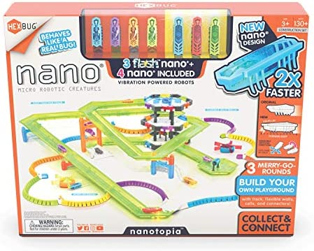 HEXBUG Flash Nano nanotopia - Colorful Sensory Playset for Kids - Build Your Own Playground - Over 130 Pieces and Batteries Included