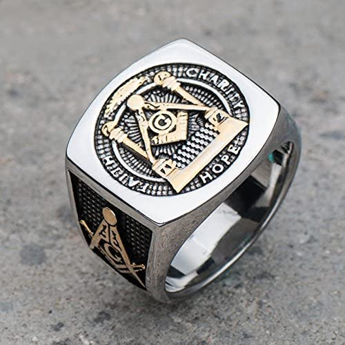 Details about  /Men/'s Stainless Steel Two-Tone IP Black AAA Grade CZ Clear Masonic Ring  11