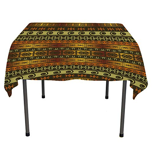 Zambia Tablecloth Printing Ethnic Ornamental Abstract Heritage Traditional Ceremony Ritual Image Gold Dark Brown Orange Tablecloth Waterproof Camping Spring/Summer/Party/Picnic 54 by 54