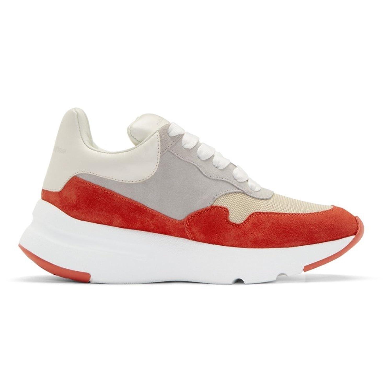 (アレキサンダー マックイーン) Alexander McQueen メンズ シューズ靴 スニーカー Red & White Colorblock Sneakers [並行輸入品] B07D15XFK7