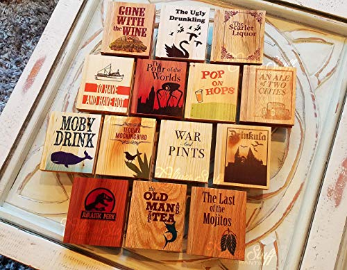 (Solid Wood Book Shaped Coasters w/drinking puns)