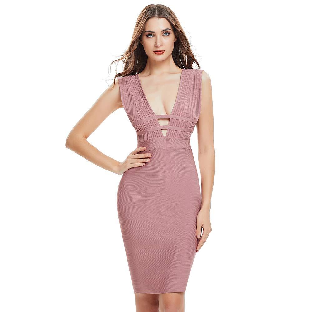Lovelychica Women's Bodycon V Neck Bandage Sleeveless Zipper Back Sexy Slim Party Midi Dress Pink