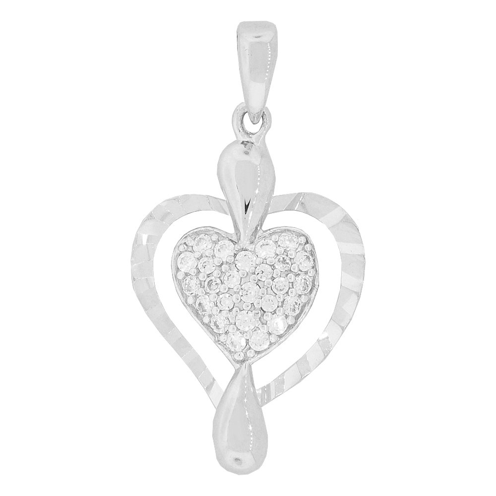 Small Heart Pendant Love Charm Butterfly Created CZ Crystals 14k White Gold
