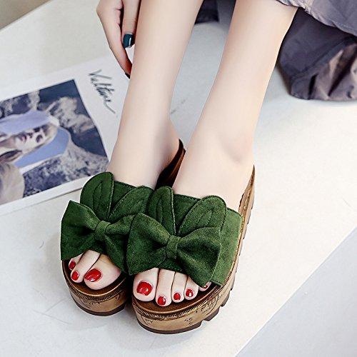 RUGAI-UE Desgaste fuera de moda Cool zapatillas Mujer Zapatillas de verano zapatos de mujer Green