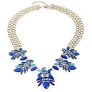 NIUWJ Collar Elegante De La Aleación De La Flor De La Gema De La Moda De Las Señoras Azul,Blue