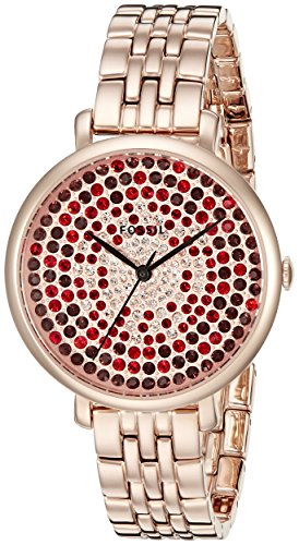 Fossil Women's ES3900 Rose Gold-Tone Bracelet Watch with Crystal Accents