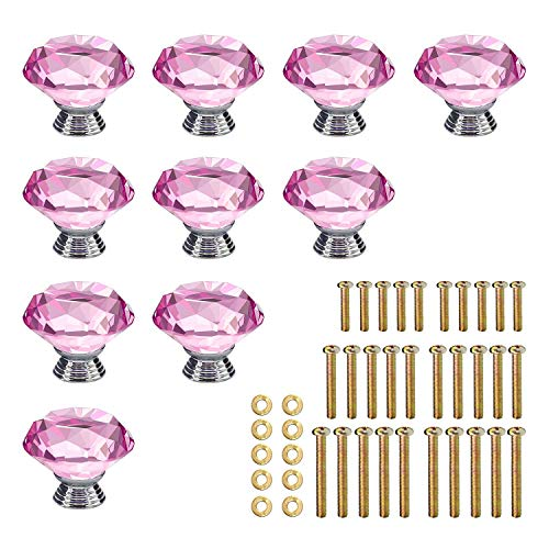 pink crystal knobs for dresser - 3