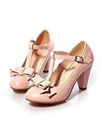 Caddy Wolfclaw Women's Chic Sweet Round Toe Bowknot Dress Pumps High Cone Heel T-strap Mary Jane Shoes