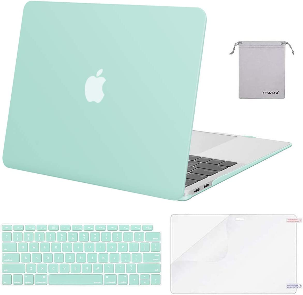 MOSISO MacBook Air 13 inch Case 2020 2019 2018 Release A2179 A1932 with Retina Display, Plastic Hard Shell&Keyboard Cover&Screen Protector&Storage Bag Compatible with MacBook Air 13, Mint Green