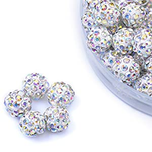 iCherry(TM) 10mm 101pcs/Lot Shine Colorful White Clay Pave Disco Ball for Rhinestone Crystal Shamballa Beads Charms Jewelry Makings