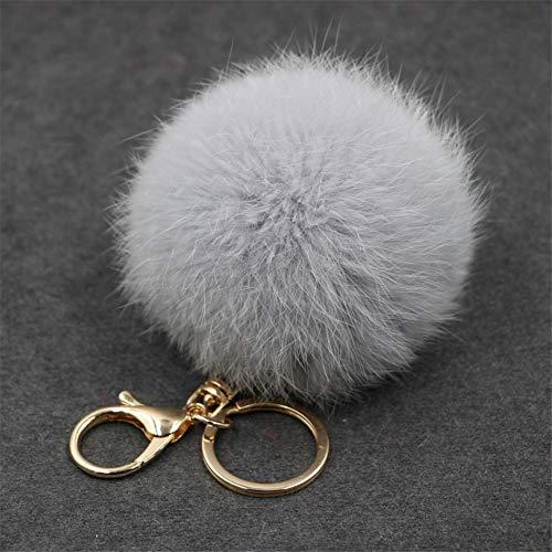 Faux Chains (FELICIA SHARKEY Faux Fur Ball Pom Pom Keychain for Car Handbag Key Ring Decoration Grey)