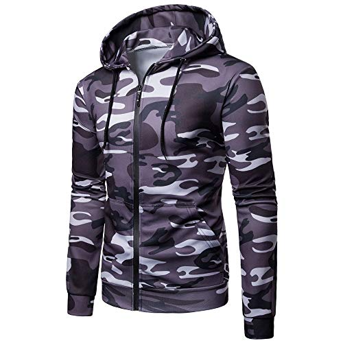 Realdo Mens Camouflage Hoodie Jacket Clearance Sale,Fashion Long Sleeve Sweatshirt Top Outwear Blouse(Medium,Dark Grey) -