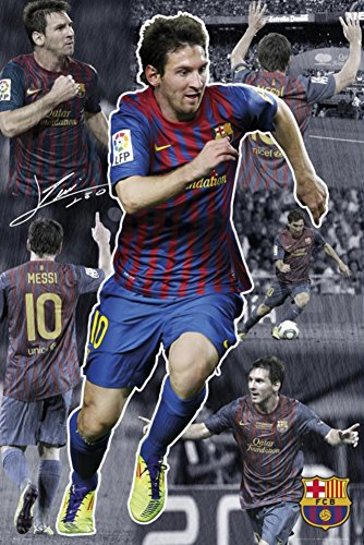 (24x36) FC Barcelona Lionel Messi Collage Sports Poster Print People Poster Print, 24x36