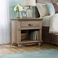 Sauder Harbor View 1-Drawer Nightstand Including Solid Wood Turned Feet, Salt Oak