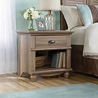 Sauder Harbor View 1-Drawer Nightstand Including Solid Wood Turned Feet, Salt Oak