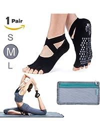 Yoga Socks for Women with Grip & Non Slip Toeless Half Toe Socks for Ballet, Pilates, Barre, Combed Cotton