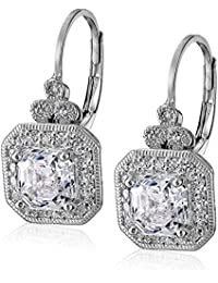 Platinum or Gold-Plated Sterling Silver Swarovski Zirconia Asscher-Cut Antique Drop Earrings