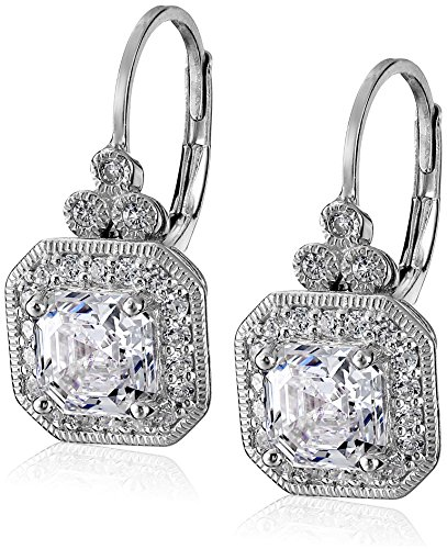 Platinum Plated Sterling Silver Antique Drop Earrings set with Asscher Cut Swarovski Zirconia (Sterling Silver Earrings Antique)