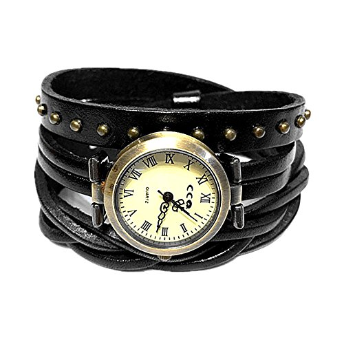 MINILUJIA Mother's Gift Roman Number Dial 2 Around Wrap Women Watches with Vintage Bronze Rivet Leather Strap Black (Band Leather Numbers Black)