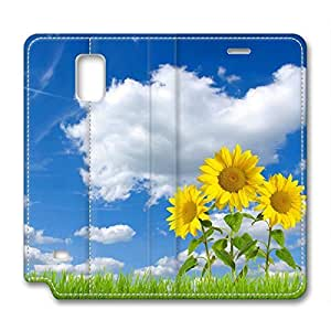 Beautiful Blue Sky Sunflowers DIY Leather Samsung Galaxy Note 4 Case Perfect By Custom Service