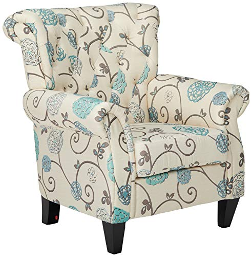 Christopher Knight Home Solvang White and Blue Floral Fabric Tufted Club Chair (Small Chairs Club Upholstered)