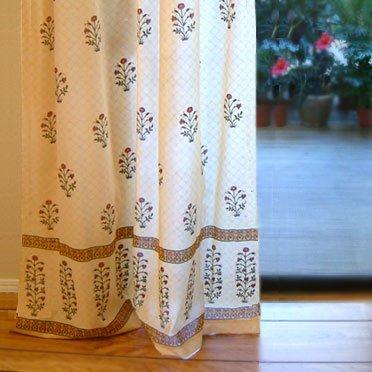 Red Poppy ~ Elegant Indian Flower Print Curtain Panel 46x108
