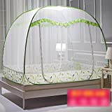 XRXY Mosquito Net Creative Encryption Foldable Mosquito Net/Yurt Bedroom Double Bed Practical Mosquito Net/Widen Increase Breathable Mosquito Net (4 Colors Available) (Color : A-Green, Size : 1.5M)