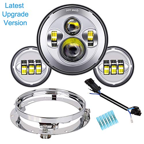 TRUCKMALL inch LED Headlight Fog Passing Lights DOT Kit Set Ring Motorcycle for Harley Davidson Touring Road King Ultra Classic Electra Street Glide Tri CVO Heritage Softail Slim Deluxe Fatboy Chrome