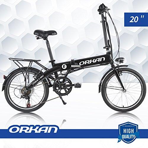 """ORKAN E-Bike 7-Speed Floding Electric Bike 250W 20"""" Electric Montain Bike 36V / 2A / 8Amp Black"""
