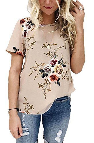 Andaa Womens Crew Neck Short Sleeve Floral Print Casual Blouses Tops T-Shirts (Flower, XL) Rena Tunic