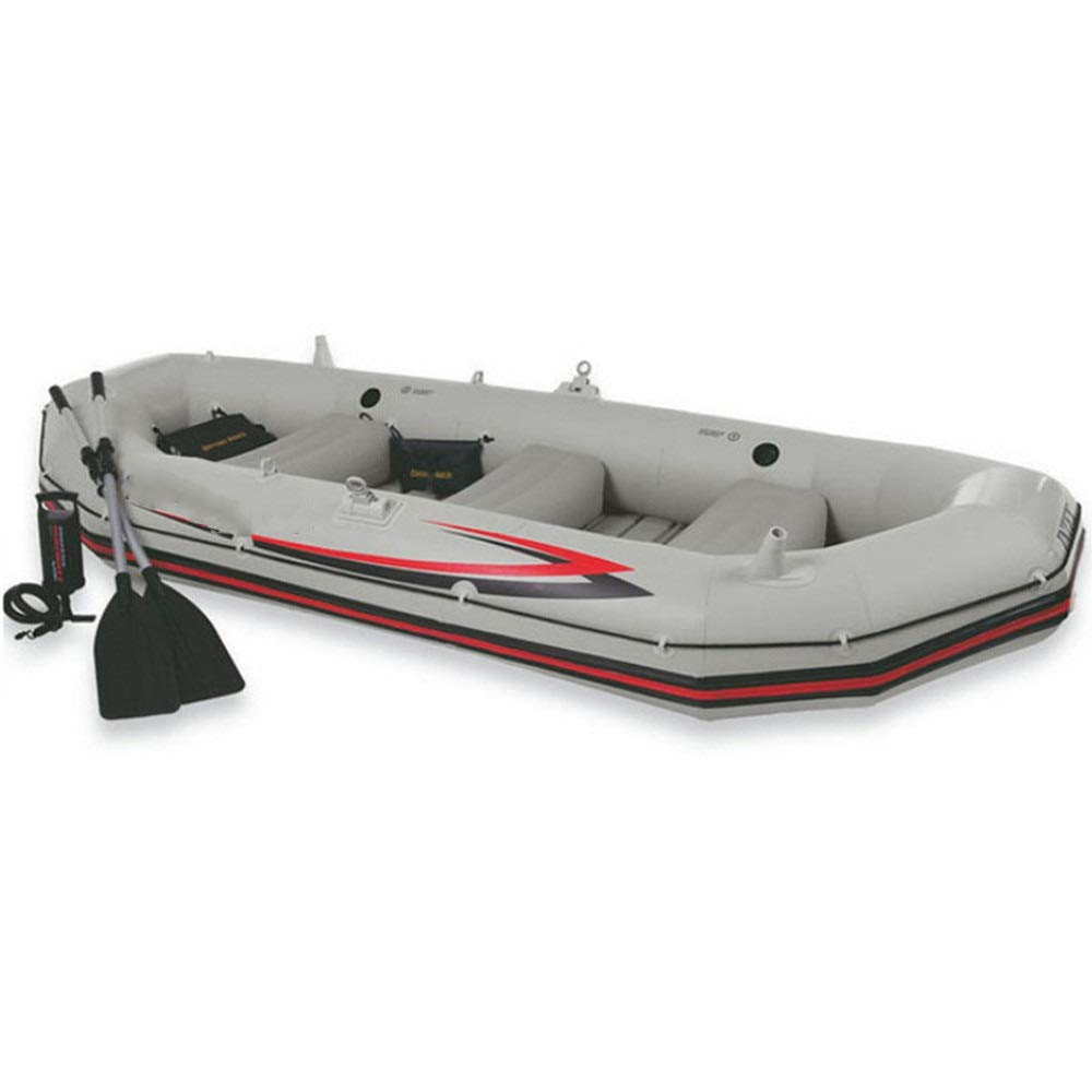 Durability Inflatable Kayaks Durable Professional Sailor Outdoor Fishing Four-Person Boat Drift Boat Kayaking Inflatable Boat Lifeboat (Color : Gray, Size : 328x145x48cm) by BoeWan