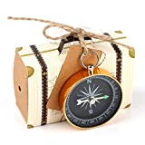 Yalulu 10pcs Mini Suitcase Kraft Paper Candy Box Rustic Wedding Favors Candy Holder Bags Wedding Party Favor Gift Boxes with Blank Tags Burlap Twine Compass