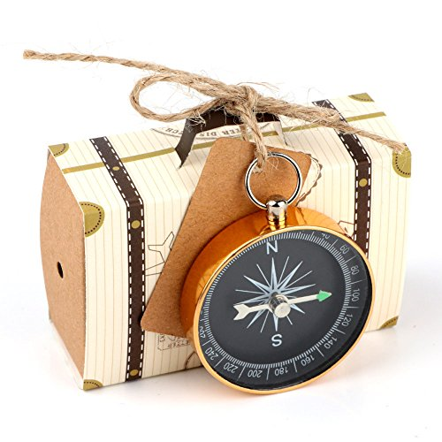 Yalulu 10pcs Mini Suitcase Kraft Paper Candy Box Rustic Wedding Favors Candy Holder Bags Wedding Party Favor Gift Boxes with Blank Tags Burlap Twine Compass by Yalulu