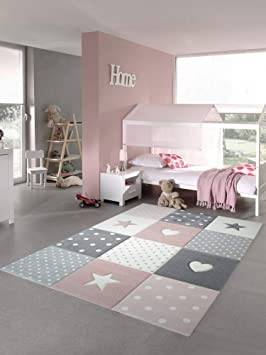 CARPETIA Tapis Enfants Tapis de Jeu Tapis bébé Fille avec Coeur étoile Rose  crème Gris Größe 80x150 cm