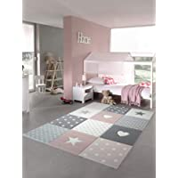 Carpetia Tapis Enfants Tapis de Jeu Tapis bébé Fille avec Coeur étoile Rose crème Gris