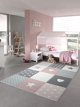 Tapis Enfants Tapis De Jeu Tapis Bébé Fille Avec Coeur étoile Rose Crème  Gris Größe 80x150