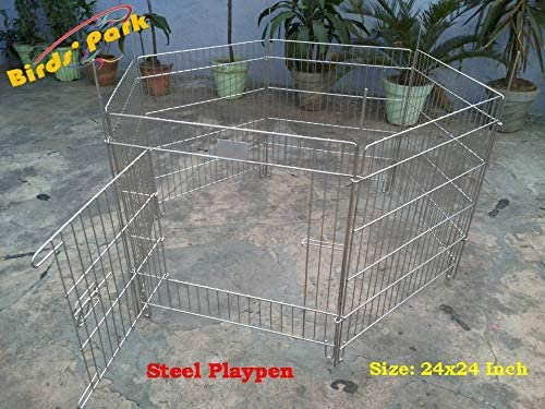 """PlayPen Steel-Fence-Corral-Cage 24"""" - Good for small Pups Rabbit & Guinea Pigs"""""""