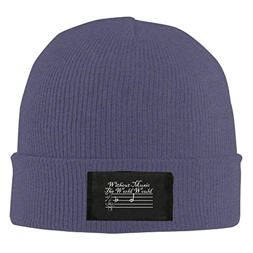 Without Music The World Would Be Flat Toboggan Hat Slouchy Beanie Winter 2016 Ski Hat KnitCap (Tomball T)