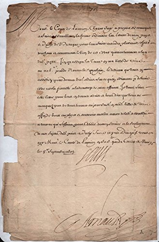 "King""Sun King"" Louis Xiv (France) Manuscript Document Unsigned"