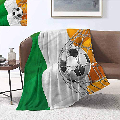 DILITECK Throw Blanket Irish Soccer Ball in Net Goal Lightweight E x tra Big W54 xL72 Traveling,Hiking,Camping,Full Queen,TV,Cabin