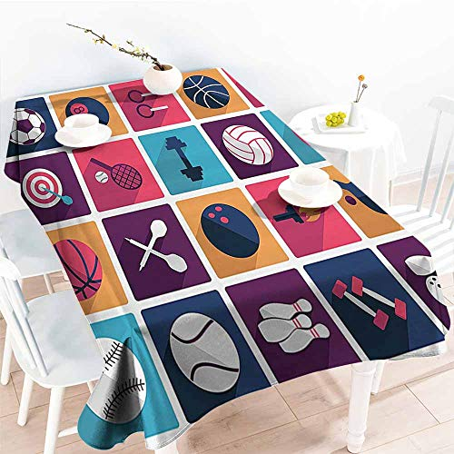 Homrkey Fabric Dust-Proof Table Cover Olympics Decorations Sport Icons Image with Whistle Stopwatch Bowling and Various Types of Balls Navy Purple Washable Tablecloth W52 xL72