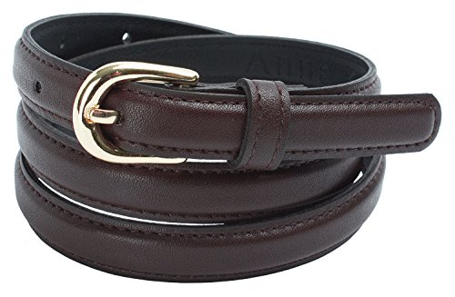 Womens Faux Leather Skinny Dress Belt with Round Buckle (L(35.5